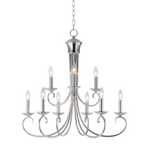 Loft Polished Nickel 30-Inch Nine-Light Adjustable Chandelier