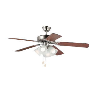 Basic-Max Satin Nickel and Walnut and Pecan Four-Light LED Indoor Ceiling Fan