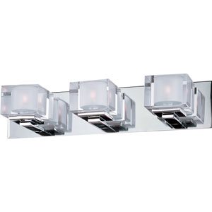 Cubic Polished Chrome Three-Light Bath Light with Clear Glass