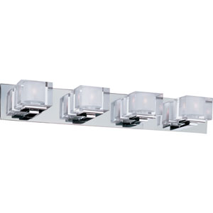 Cubic Polished Chrome Four-Light Bath Light with Clear Glass