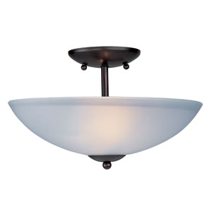 Logan Oil Rubbed Bronze Two Light Semi-Flush Mount with Frosted Glass Shade