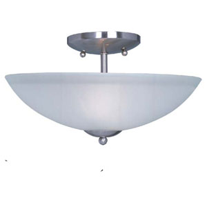 Logan Satin Nickel Two Light Semi-Flush Mount with Frosted Glass Shade
