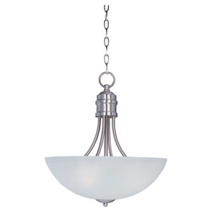 Logan Satin Nickel Three-Light Invert Bowl Pendant