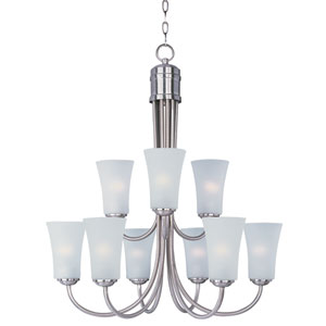 Logan Satin Nickel Nine-Light Single-Tier Chandelier