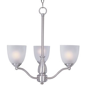 Stefan Satin Nickel Three-Light Single-Tier Chandelier