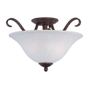 Basix Oil Rubbed Bronze Two Light Semi-Flush Mount with Ice Glass
