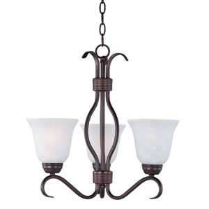 Basix Oil Rubbed Bronze Three Light Single-Tier Chandelier with Ice Glass