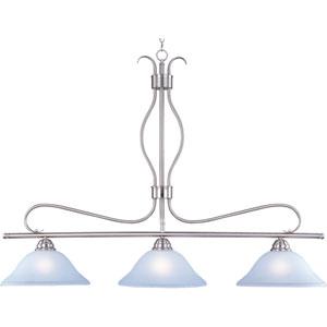 Basix Satin Nickel Three-Light Island Pendant with Ice Glass