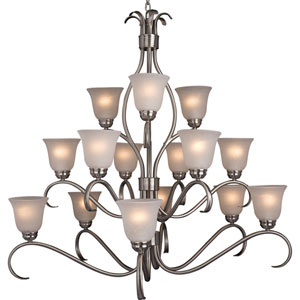 Basix Satin Nickel Fifteen-Light Chandelier