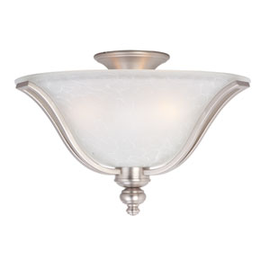 Madera Satin Silver Three-Light Flush Mount