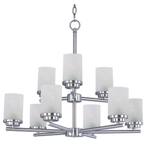 Corona Satin Nickel Nine-Light Multi-Tier Chandelier