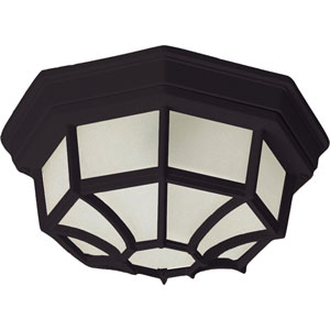 Crown Hill Black Two-Light Outdoor Flushmount