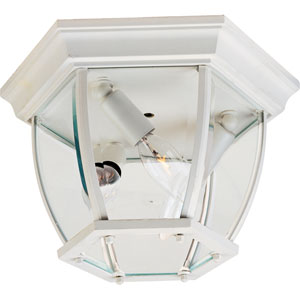 White Three-Light Outdoor Flushmount