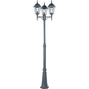 Poles Black Three-Light Outdoor Post Light