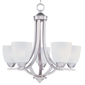Axis Satin Nickel Five-Light Single-Tier Chandelier