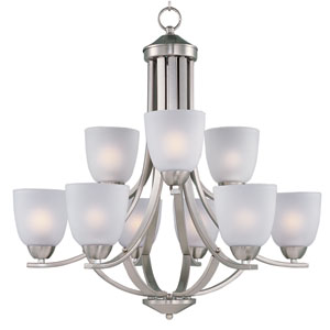 Axis Satin Nickel Nine-Light Multi-Tier Chandelier