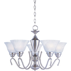 Newport Satin Nickel Five-Light Chandelier with Marble Glass