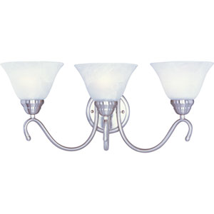 Newport Satin Nickel Three-Light Bath Light with Marble Glass