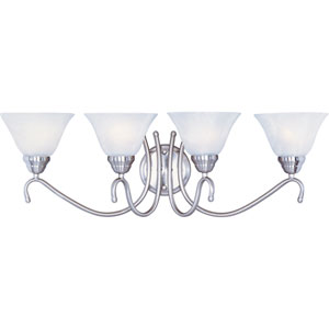 Newport Satin Nickel Four-Light Bath Light with Marble Glass