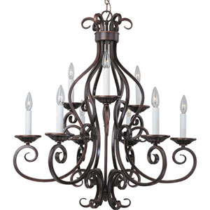 Manor Oil Rubbed Bronze Nine-Light Chandelier