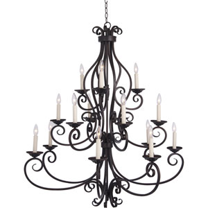 Manor Oil Rubbed Bronze Fifteen-Light Multi-Tier Chandelier
