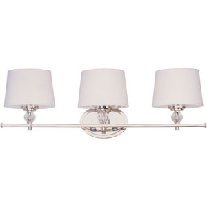 Rondo Polished Nickel Three-Light Bath Fixture