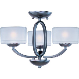 Elle Oil Rubbed Bronze Three-Light Semi-Flush Mount/Chandelier