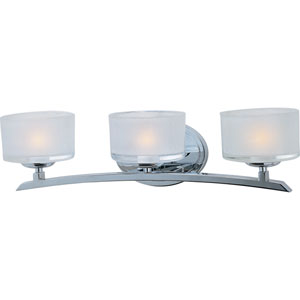 Elle Polished Chrome Three-Light Bath Light with Frosted Glass