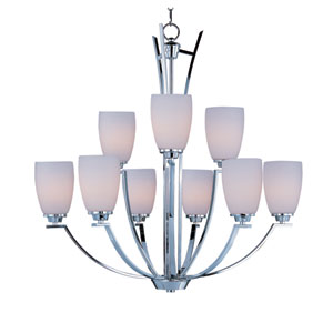 Rocco Polished Chrome Nine-Light Multi-Tier Chandelier