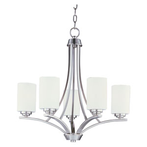 Deven Satin Nickel Five-Light Single-Tier Chandelier