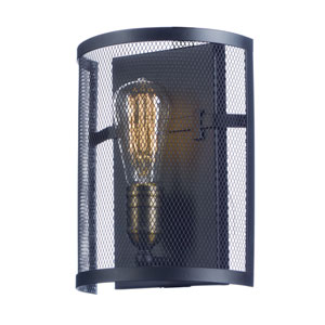 Palladium Black and Natural Aged Brass Eight-Inch One-Light Wall Sconce