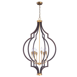 Crest Oil Rubbed Bronze and Antique Brass Six-Light Pendant