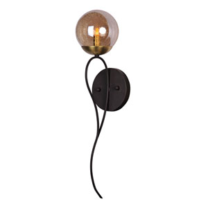 Reverb Textured Bronze and Satin Brass One-Light Xenon Wall Sconce with Topaz Bubble Glass