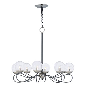 Reverb Textured Black and Polished Nickel Eight-Light Xenon Chandelier with Clear Bubble Glass