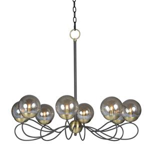 Reverb Textured Bronze and Satin Brass Eight-Light LED Chandelier