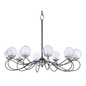 Reverb Textured Black and Polished Nickel 38-Inch 10-Light LED Chandelier