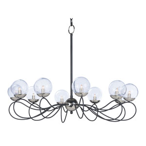 Reverb Textured Black and Polished Nickel 10-Light Xenon Chandelier with Clear Bubble Glass