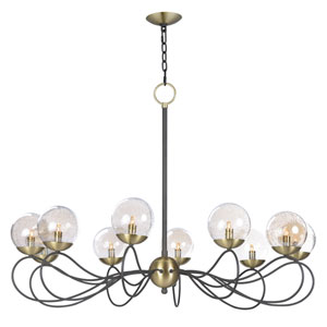 Reverb Textured Bronze and Satin Brass 10-Light Xenon Chandelier with Clear Bubble Glass