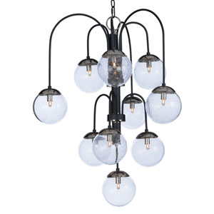 Reverb Textured Black and Polished Nickel 30-Inch 10-Light Xenon Chandelier