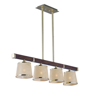 Maritime Antique Pecan and Satin Brass Four-Light Linear Pendant