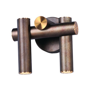 Tubular LED Bronze Fusion and Antique Brass Two-Light LED Wall Sconce