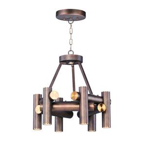 Tubular LED Bronze Fusion and Antique Brass Seven-Light LED Pendant
