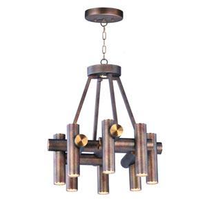 Tubular LED Bronze Fusion and Antique Brass Nine-Light LED Pendant