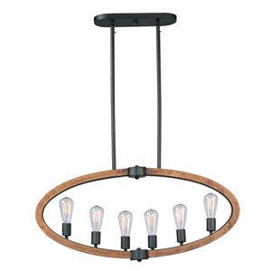 Bodega Bay Anthracite Six-Light Pendant without Bulbs