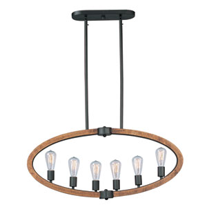 Bodega Bay Anthracite Six-Light Four-Inch Pendant with Bulbs
