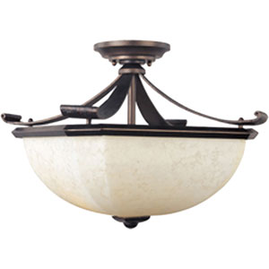 Oak Harbor Rustic Burnished Two-Light Semi-Flush with Frost Lichen Glass