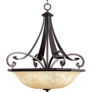 Oak Harbor Rustic Burnished Four-Light Bowl Pendant with Frost Lichen Glass