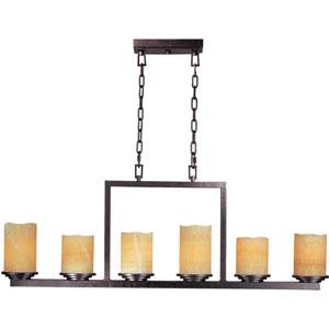 Rustic Ebony Luminous Six-Light Rectangle Chandelier