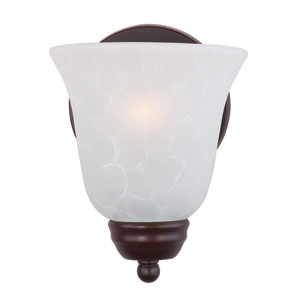 Basix Oil Rubbed Bronze One-Light Bath Fixture with Ice Glass
