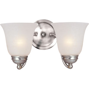Basix Satin Nickel Two-Light Sconce with Ice Glass